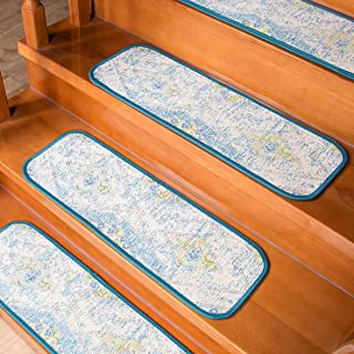 AMIDA Carpet Stair Treads Non-Slip Backing Indoor Set of 7- Washable - Geometric Vintage Distressed - Tape Free - Flat Weave - Dog Friendly - Acrylic - Stair Tread Mat 7 Pack Easy Care 9