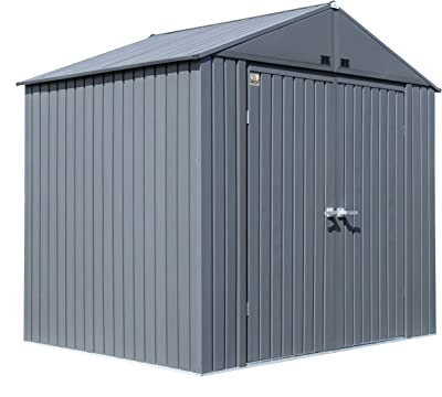 Arrow Shed 8' x 6' Elite Steel Shed with High Gable and Lockable Doors Storage Building, Anthracite