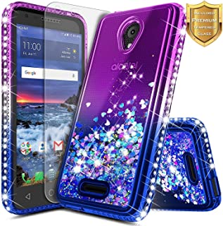 Alcatel IdealXcite Case, Verso/Raven LTE (A574BL) /CameoX (4G LTE) /U50 (5044R) with Tempered Glass Screen Protector, NageBee Glitter Liquid Sparkle Bling Floating Waterfall Cute Case -Purple/Blue