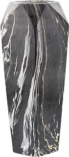 Deco 79 60771 Geometrically-Shaped Marbled Black Ceramic Vase, 14
