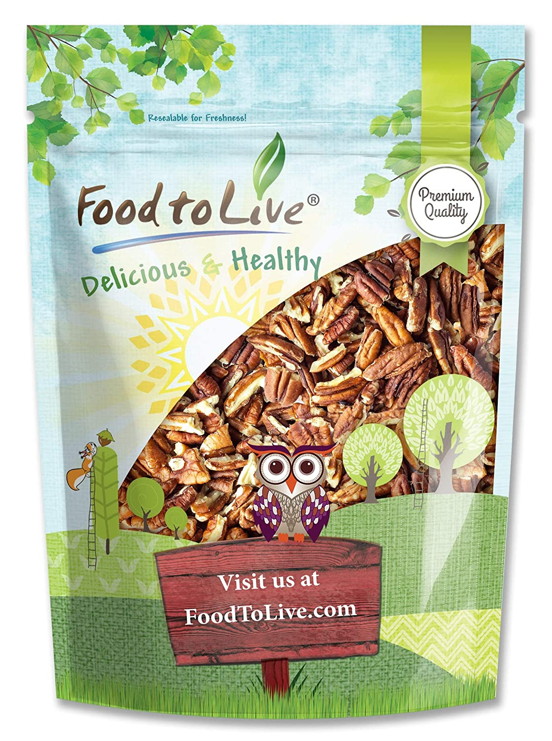 Pecans Pieces, 2 Pounds — Non-GMO Verified, Raw, Chopped, Unsalted, Unroasted, Kosher, Vegan, Bulk, Great Gourmet Nuts for Baking, Sirtfood