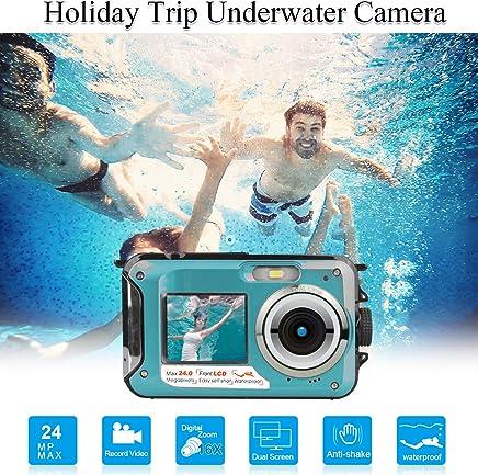 Waterproof Underwater Digital Cameras for Snorkeling,Waterproof Cameras Digital Underwater Video Recorder Camera-Dual Screen Selfie Camera