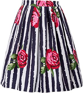 Women Pleated Vintage Skirts Floral Print CL6294 (Multi-Colored)