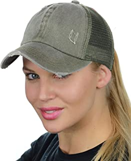 602254f5 C.C Ponycap Messy High Bun Ponytail Adjustable Mesh Trucker Baseball Cap Hat