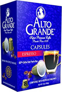 Alto Grande Espresso Super Premium Puerto Rico Coffee Capsules for Nespresso Machine (1 Box of 18 Capsules)