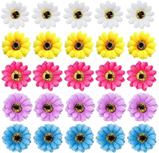 inSowni 20 Pack Beach Hawaiian Wedding Realistic Sunflower Daisy Flower Alligator Hair Clips Pins Barrettes Brooches Headp...