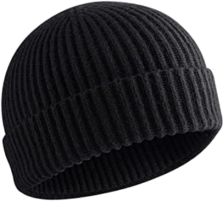 choshion 50% Wool Short Knit Fisherman Beanie for Men Women Winter Cuffed Hats