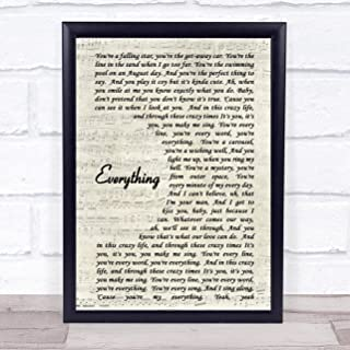123 BiiUYOO Everything Michael Buble Song Lyric Vintage Script Quote Print with Frame 14