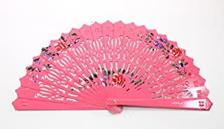 We pay your sales tax Pink Double Sided Wooden Spanish Floral Print Design Hand Fan Party Decoration Gift