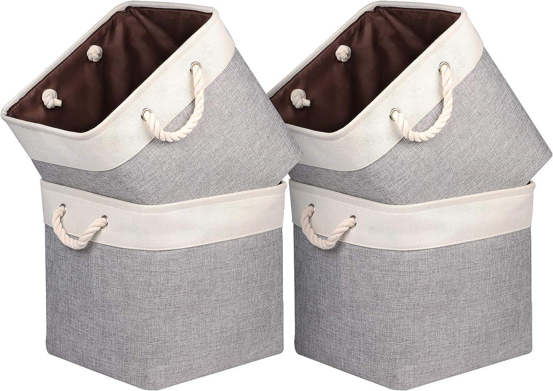 Univivi Foldable Storage Basket Fabric Cube Storage Bins with Hard Bottom &Sturdy Cotton Handles Storage Cube for Shelf Closet Home (Grey & White, 13inch, 4-Pack)