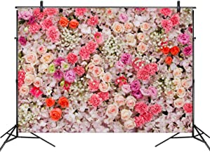 7x10 FT Vinyl Photography Backdrop,Shabby Chic Roses Buds Leaves Tulips Floral Details Butterfly Natural Eco Print Background for Graduation Prom Dance Decor Photo Booth Studio Prop Banner