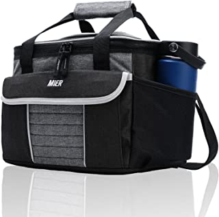 MIER Large Soft Cooler Bag Insulated Lunch Box Bag Picnic Cooler Tote with Dispensing Lid, Multiple Pockets Large Black/Gray