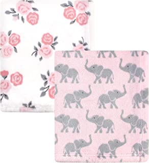 Hudson Baby Unisex Baby Cozy Plush Luxury Blankets 2pk, Pink Elephants, One Size
