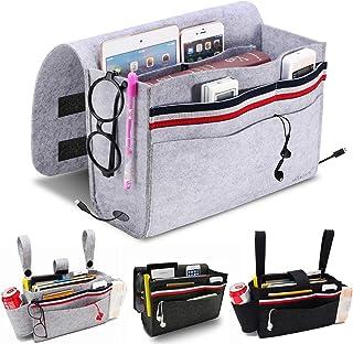 MANGATA Sac de Rangement de Chevet, Poche de lit avec 5 Poches pour télécommande, téléphone Portable, Livre, Gris Clair