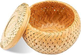 Decorasian Ecrin tressé en bambou - Petit récipient décoratif avec couvercle - Rangement