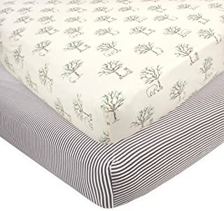 Touched by Nature Unisex Baby and Toddler Organic Cotton Crib Sheet, Birch Trees, One Size