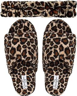 Jessica Simpson Women's Plush Open Toe Adjustable Slide On Spa Slipper and Stretch Headband Set