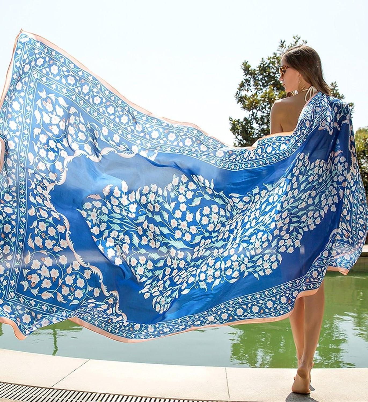 Fashion Scarves Women Accessories Scarves Wraps Scarf Summer Travel Silk Scarf Beach Towel Oversized Shawl Sunscreen bluee Shawl