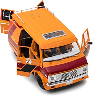 1976 Chevrolet G10 G-Series Van Orange with Custom Graphics 1/18 Diecast Model Car by Highway 61 18012