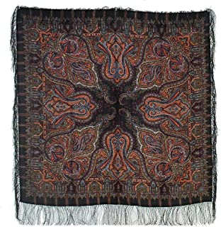Pavlovoposadskiy Platok Women's Russian Wool Shawl With Silk Fringes