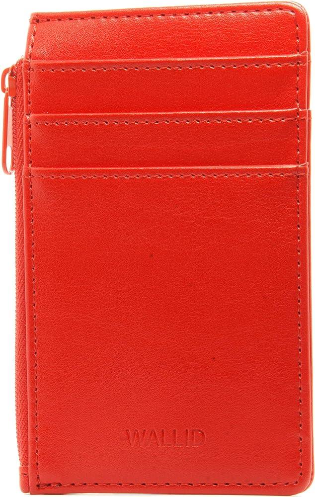 Wallid, portafoglio, porta carte di credito con blocco rfid, in pelle