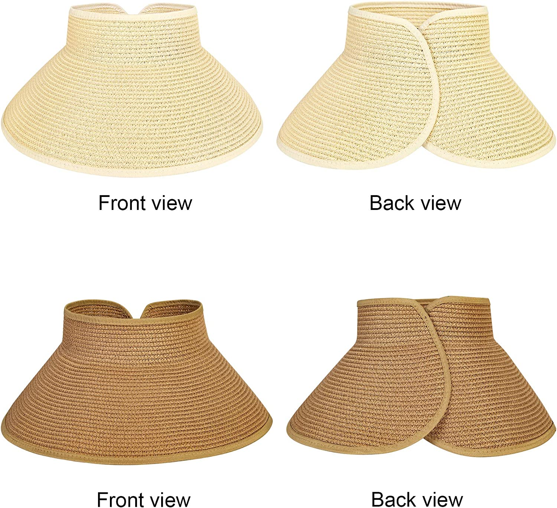 Chalier Straw Sun Visors for Women, Wide Brim Beach Hat Foldable Straw Sun Hats(2 Pack)
