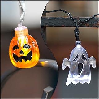 LampLust Halloween Battery String Lights - Set of 2, Ghost and Pumpkin Themed, 10 LED Lights per Strand