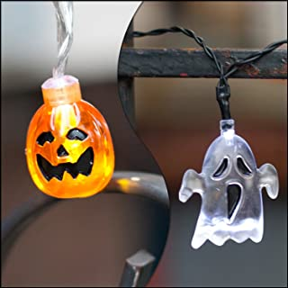 LampLust Halloween String Lights, Pumpkin and Ghost - Battery Operated Fairy Lights with Spooky Shapes, 10 LED per Strand, Portable Decorations for Party, Golf Cart & Trunk or Treat - Set of 2