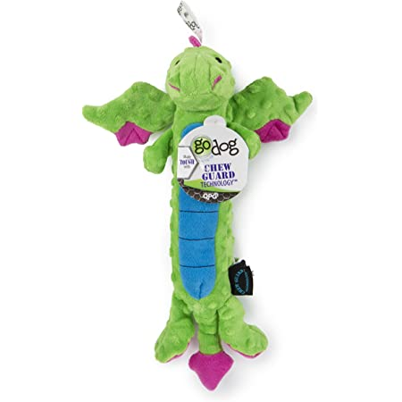 goDog, Dragons, Skinny, Squeaker Dog Toy, Chew Resistant, Durable Plush, Soft, Tough, Reinforced Seams, Green, Large
