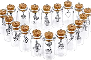 18 Pieces Christmas Mini Charm Glass Bottle Ornaments Glass Charms in Xmas Tree Elk Snowflake Santa Claus Xmas Glass Bottle Decorations for Home Farmhouse Rustic Holiday Christmas Tree Tiered Tray