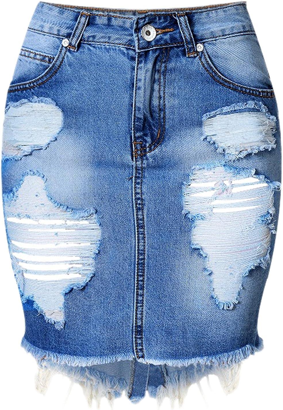 chouyatou Women's Retro High-Waist Boyfriend Ripped Holes Denim Skirt