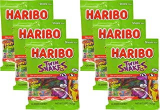 Haribo Twin Snakes Sweet & Sour Gummy Candy - NEW 2016 - 5 oz Bags (Pack of 6)