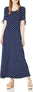 Star Vixen womens Short/Slit Sleeve Keyhole-Back Skater Seam Maxidress Dress