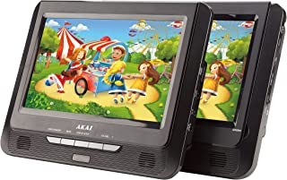 Akai 9-Inch Dual Screen Portable DVD Player, MP3, JPEG Files in USB/SD, Two Separate Screens, LCD Display, USB Port, SD Ca...
