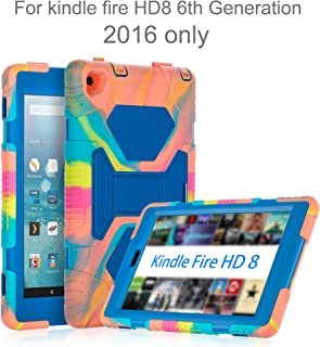 AMEISEYE Fire HD 8 Case 2016, Silicone [Protective] Shockproof Kids proof Impact Resistant Outdoor Gift Cases Covers with Stand for 2016 Release Amazon Fire 8 Inch Tablet(Ice Blue)