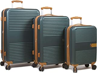 Dejuno Garland Hardside 3-Piece Spinner Luggage Set with USB Port, Green
