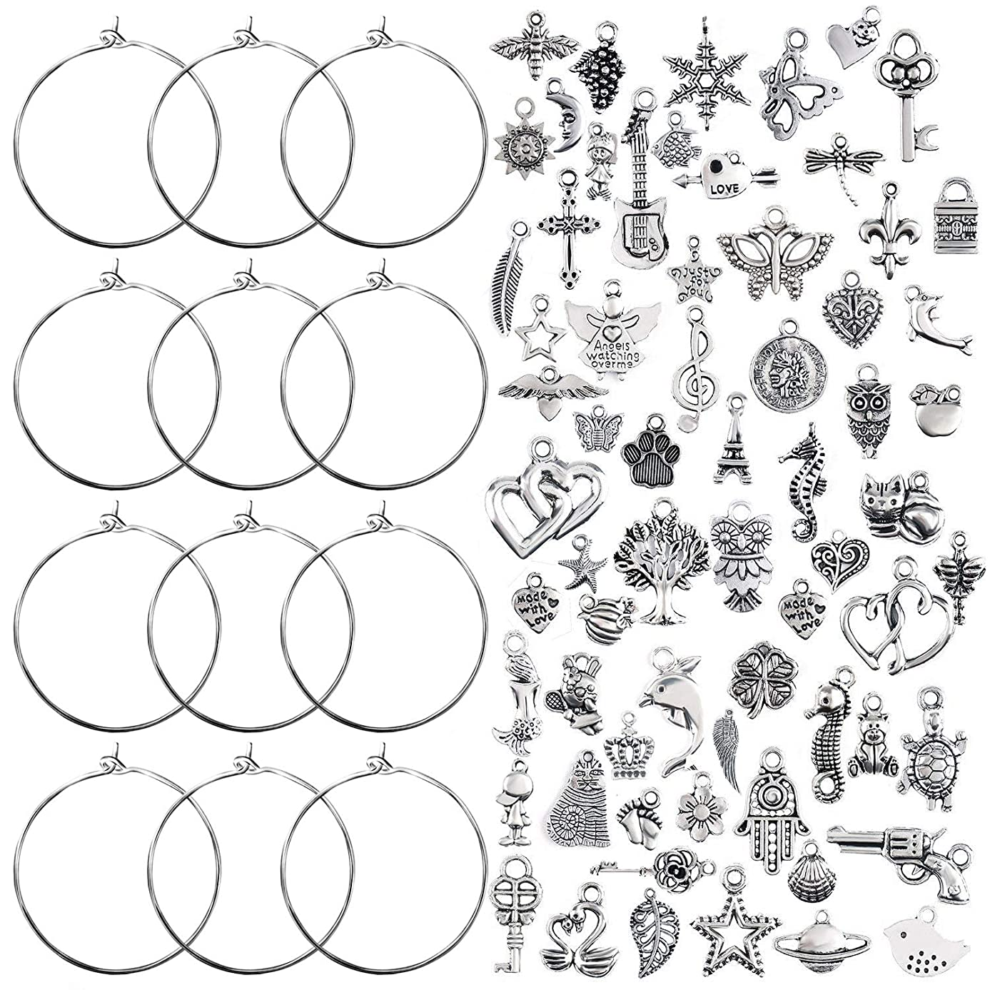 Jdesun 100 Pieces Wine Glass Charm Rings Earring Hoops and 100 Pieces Ocean Fish & Sea Charms Pendants for DIY Your Unique Wine Glass Marker