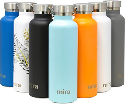 MIRA Alpine Stainless Steel Vacuum Insulated Water Bottle with 2 Lids,  Durable Powder Coated Thermos