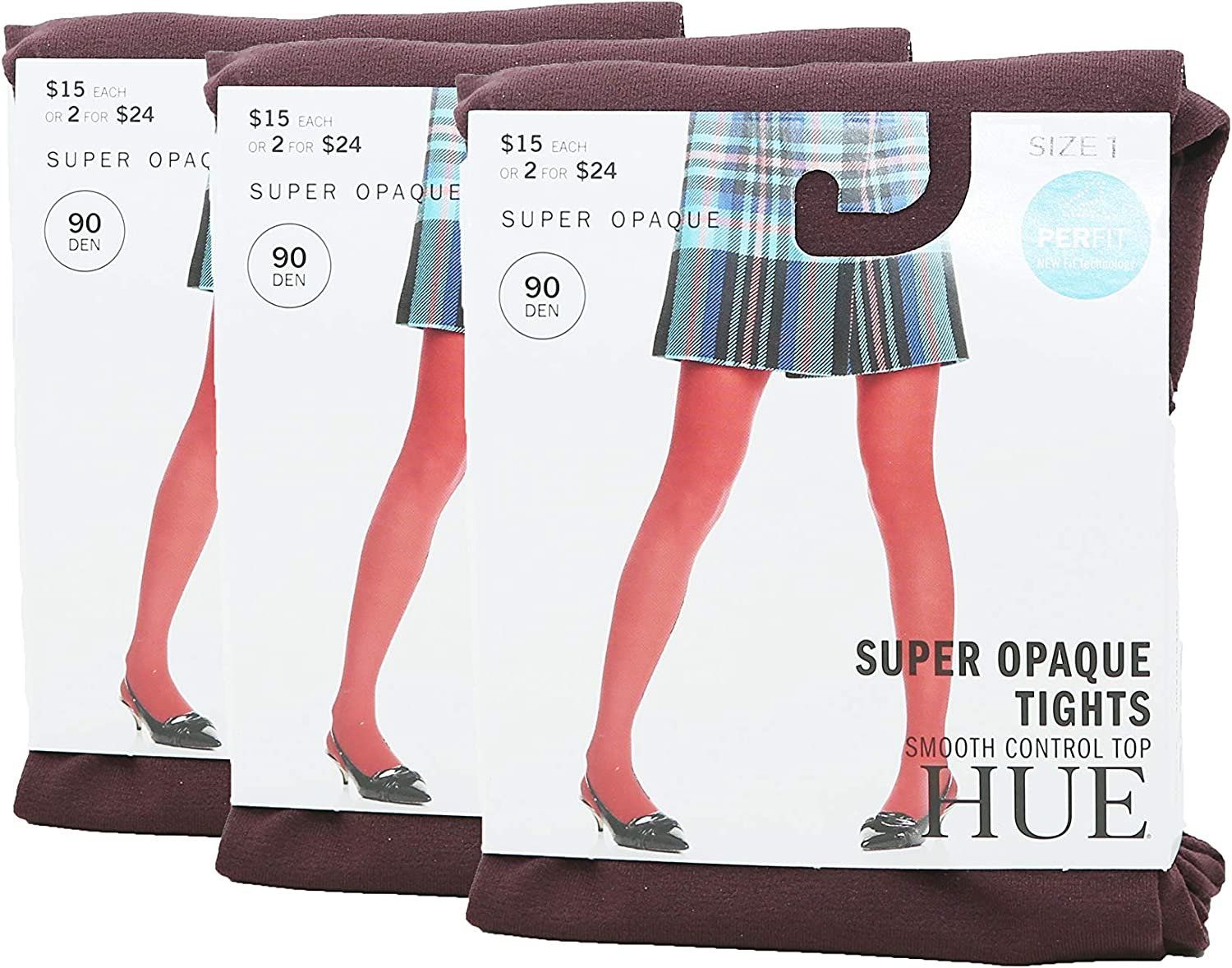 Hue Womens Set Of 3 Super Opaque Tights With Control Top