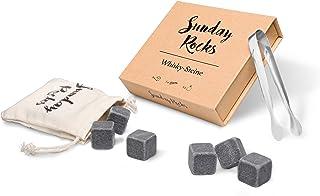 Sunday Rocks Whisky Steine aus natürlichem Basaltstein im Geschenkset – 9 Steine mit Edelstahlzange und bedrucktem Baumwollbeutel – Wiederverwendbare Eiswürfel für Whiskey-Genießer