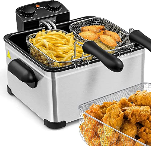 wholesale Simoe Deep Fryers with Triple popular Baskets 1700W Electric Fryer for Countertop, 5.3QT/21 Cup Large Capacity, Home Fryer with Oil Fume Filter Lid, Adjustable Temperature, online Timer & View Window, for Kitchen Restaurant, Stainless Steel sale