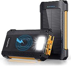 Solar Power Bank 30000 mAh, Wireless Portable Charger Solar Panel External Battery Type-C 5V Dual USB with LED Flashlight...