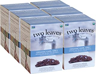 Two Leaves and a Bud Organic Earl Grey Black Tea Bags, 15 Count (Pack of 6) Organic Whole Leaf Full Caffeine Black Tea in Pyramid Sachet Bags, Delicious Hot or Iced with Milk, Sugar or Honey or Plain