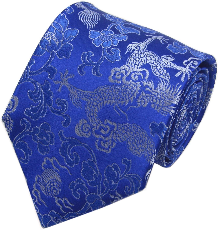Secdtie Men's Silk Tie Dragon Peony Embroidery Woven Wedding Formal Necktie Gift