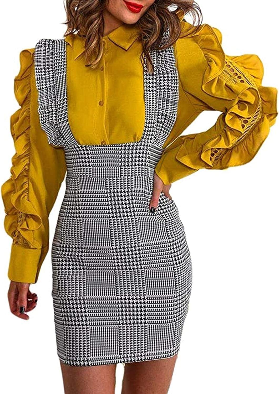 Women's Vintage High Waist Straight Braces Ruffle Strap Suspender Skirt Pencil Dress