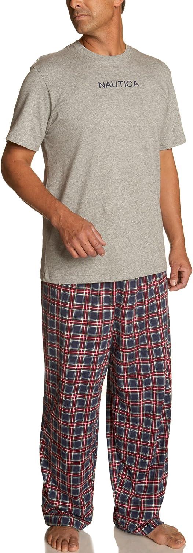 Nautica Men's Blue Stewart Plaid Pant with Short Sleeve Navy Logo Tee, Boxed Set