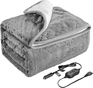 Elantrip Machine Washable Electric Heated Blanket 12 Volt for Car Vehicle Truck SUV, Flannel Heated Travel Blanket with Temp Controller 40x55 inch Gray