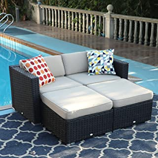 PHI VILLA 4-Piece Patio Furniture Daybed Set Rattan with Seat Cushions (Beige)