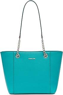 حقيبة يد طويلة بسحاب علوي من Calvin Klein Hayden Saffiano East/West لون أزرق مخضر