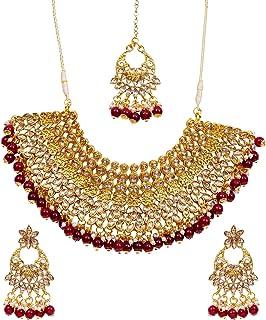 Crunchy Fashion Bollywood Style Traditional Indian Bridal Bride Wedding Bridesmaid Gold Plated MaroonPearls Kundan Look Ch...